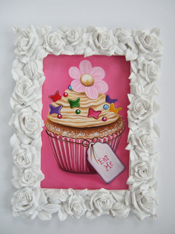 Pink Daisy Cupcake Original by Marie Louise Wrightson *NEW*-Original Art-Marie-Louise-Wrightson-The Acorn Gallery