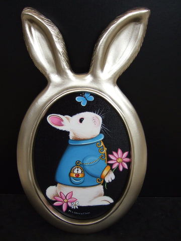 White Rabbit With Butterfly Original by Marie Louise Wrightson *SOLD*