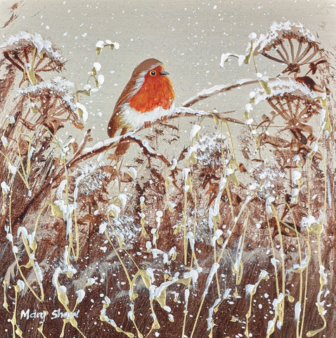 Robin Redbreast II Original by Mary Shaw *SOLD*