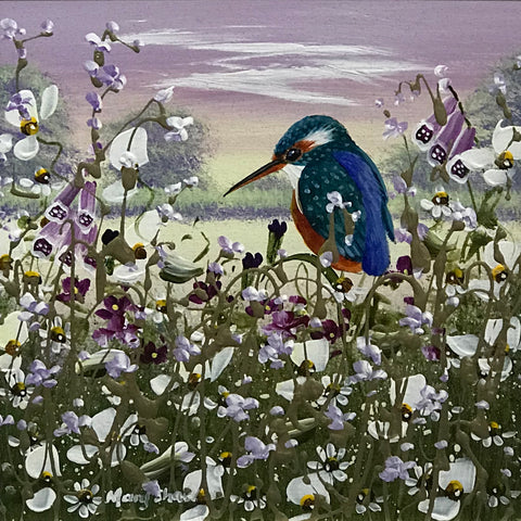 Sunset Kingfisher II Original by Mary Shaw