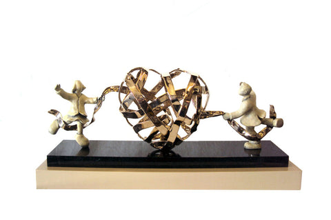 Lovers Entwined Bronze Sculpture by Mackenzie Thorpe
