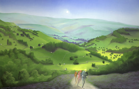 Over Moor And Dale (Tour de Yorkshire) by Mackenzie Thorpe-Limited Edition Print-The Acorn Gallery-Mackenzie-Thorpe-artist-The Acorn Gallery