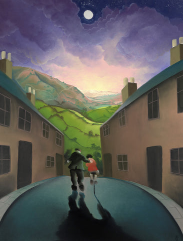 Riding With Grandad (Tour de Yorkshire) by Mackenzie Thorpe-Limited Edition Print-The Acorn Gallery-Mackenzie-Thorpe-artist-The Acorn Gallery