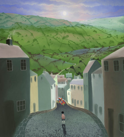 The Boy Without A Bike (Tour de Yorkshire) by Mackenzie Thorpe-Limited Edition Print-The Acorn Gallery-Mackenzie-Thorpe-artist-The Acorn Gallery