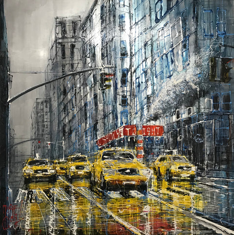 New York Rush Hour Original on Aluminium by Nigel Cooke *SOLD*
