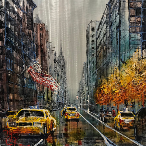 Taxi! (New York) Original on Aluminium by Nigel Cooke *SOLD*