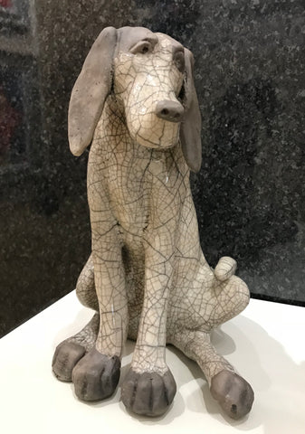 Henry - Large Dog Raku Sculpture by Paul Jenkins *NEW*