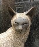 Large Sitting Cat Raku Sculpture by Paul Jenkins