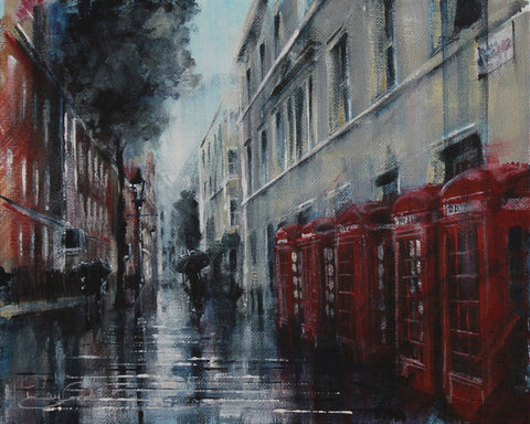 London Study #5 - Telephone Boxes Original by Rayford *SOLD*-Original Art-The Acorn Gallery-Rayford-artist-The Acorn Gallery