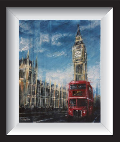 Time To Catch The Bus Original by Rayford-Original Art-The Acorn Gallery-Rayford-artist-The Acorn Gallery