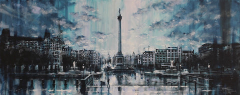 Trafalgar Square Reflections Original by Rayford-Original Art-The Acorn Gallery-Rayford-artist-The Acorn Gallery