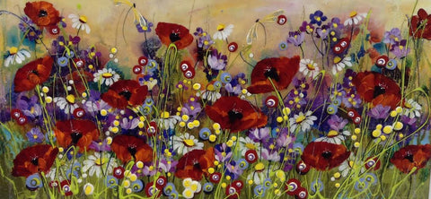 Deep Red Poppies Original by Rozanne Bell *SOLD*
