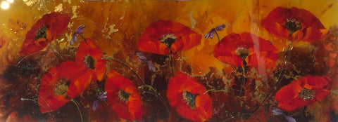 Poppies On Gold Original by Rozanne Bell *SOLD*