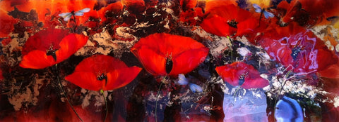 Poppies With Dragon Flies Original by Rozanne Bell *SOLD*