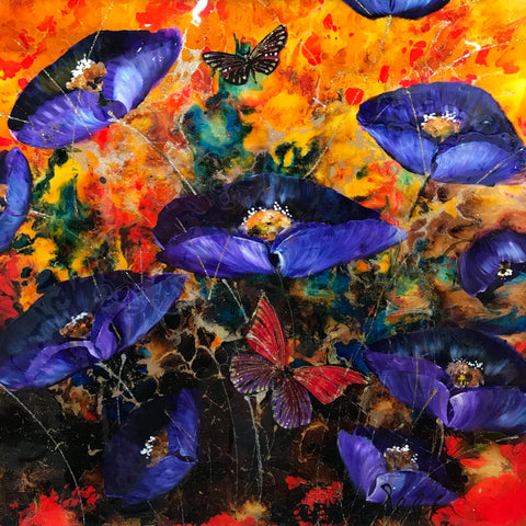 Poppy Pandemonium Original by Rozanne Bell *SOLD*
