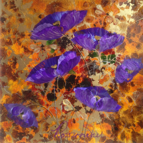 Purple Poppies Original by Rozanne Bell *SOLD*