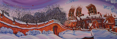 Minster Snowman Original by Rayford *SOLD*-Original Art-The Acorn Gallery-Rayford-artist-The Acorn Gallery