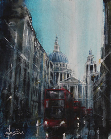 London Study #4 - St. Paul's Buses Original by Rayford *NEW*