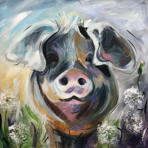 Clover (Pig) Original by Susan Leigh *SOLD*