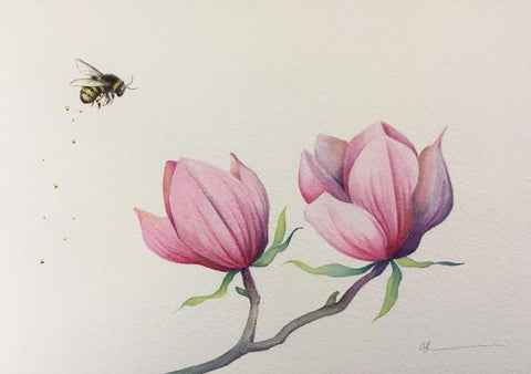 Magnolia And The Bee Original by Sarah Louise Ewing *SOLD*
