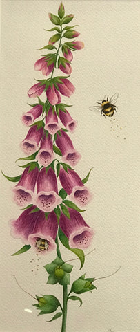 Foxgloves With Bees Original by Sarah Louise Ewing *SOLD*