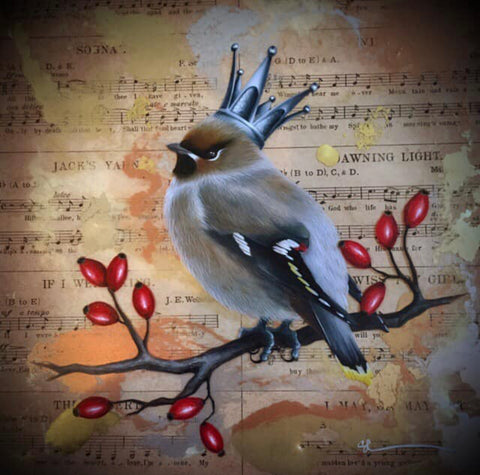 Pax Tibi (Waxwing) Original by Sarah Louise Ewing *SOLD*