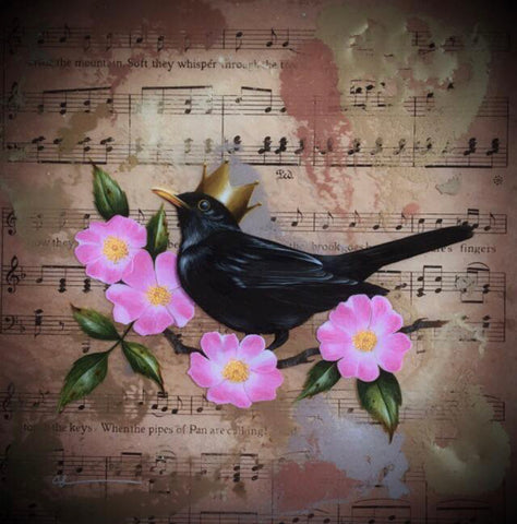 Sweet Eglantine (Blackbird) Original by Sarah Louise Ewing *SOLD*