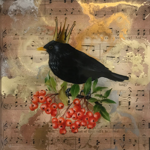 The Herald of Autumn (Blackbird) Original by Sarah Louise Ewing *SOLD*