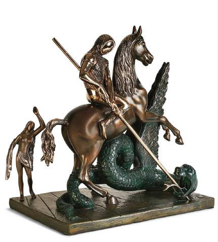 Saint George And The Dragon Bronze Sculpture by Salvador Dali