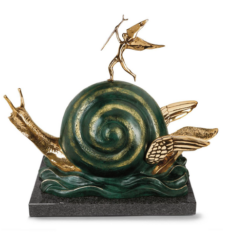 Snail And The Angel Bronze Sculpture by Salvador Dali