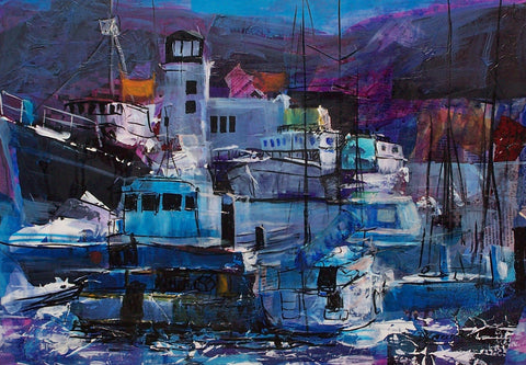 Scarborough Harbour Original by Doreen Greenshields *SOLD*