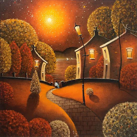 A Beautiful Evening On Autumn Lane Original by Tony Gittins *SOLD*