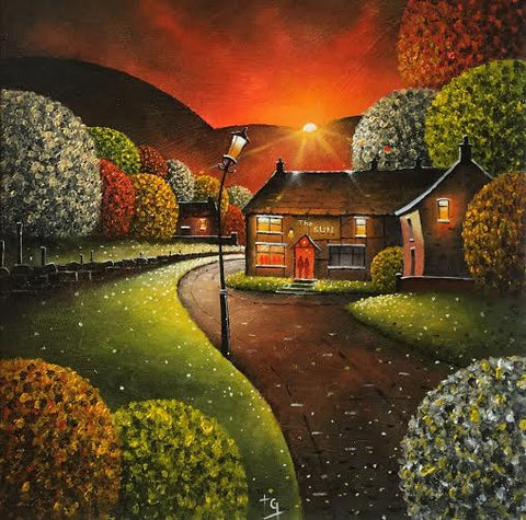 Early Evening Stroll Into The Sun Original by Tony Gittins *SOLD*