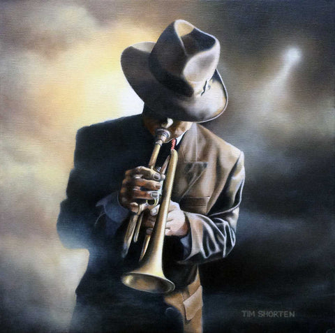 Music Is Life (Solo Cornet Player) Jazz Original by Tim Shorten *SOLD*