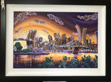Sunset On Brooklyn Bridge Original by Rayford *NEW*-Original Art-The Acorn Gallery-Rayford-artist-The Acorn Gallery