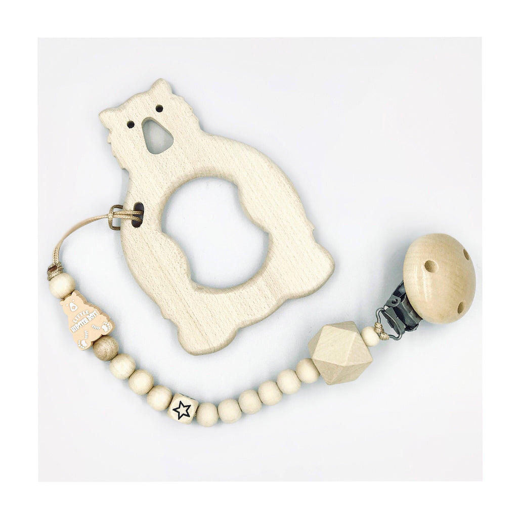 Little Hipster Boys - Maple Wooden Teething Ring