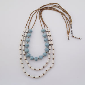Amuka Necklace Light Blue + Earrings for FREE!