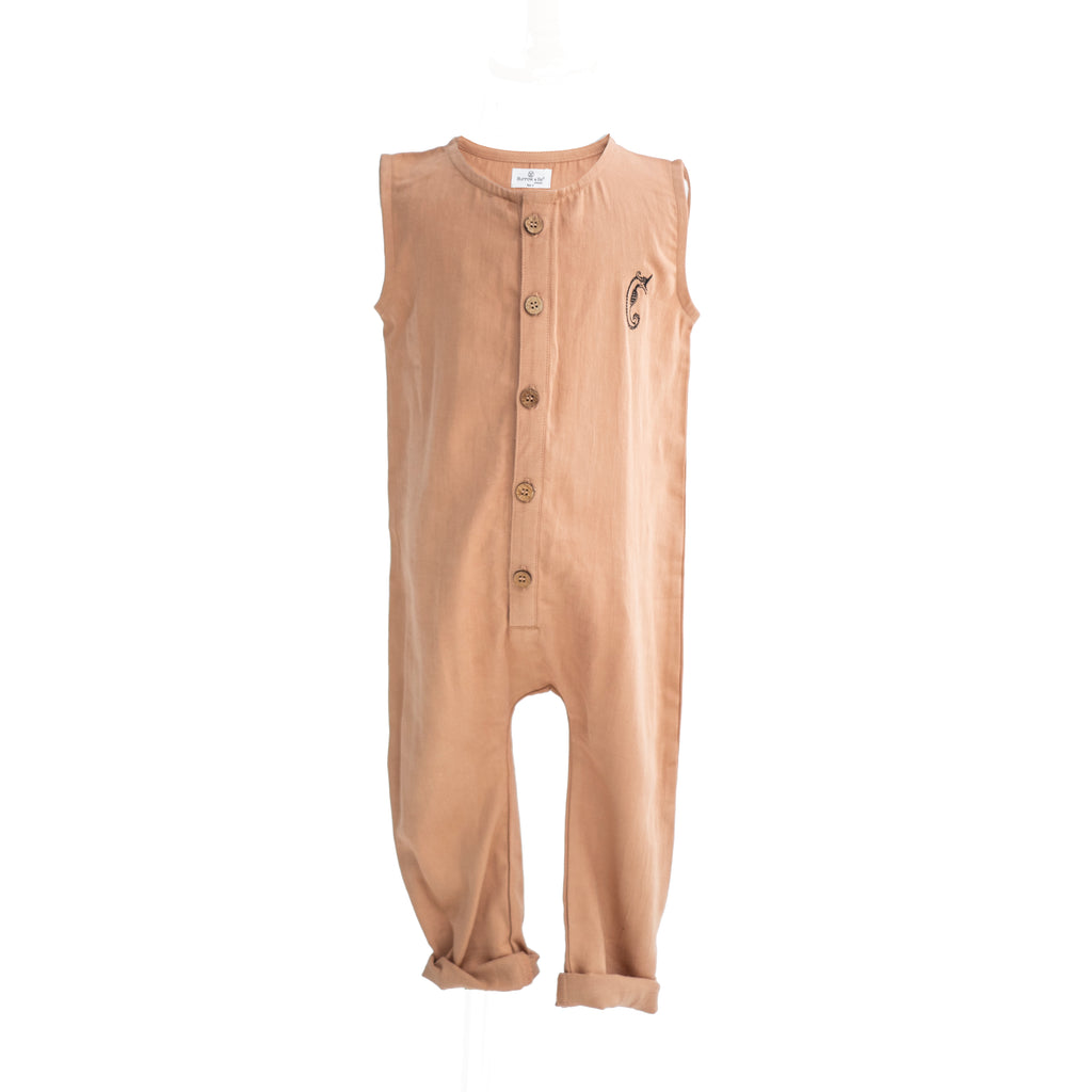 Burrow and Be -Seahorse Embroidered Emmy Romper - Tawny Brown - Dapper Mr Bear - www.dappermrbear.com - NZ