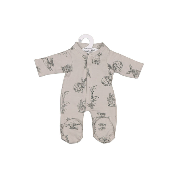 Burrow and Be Dolls Clothing - Grey Burrowers Sleepsuit