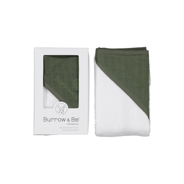 Burrow and Be Baby Hooded Towel - Olive - Dapper Mr Bear - www.dappermrbear.com - NZ