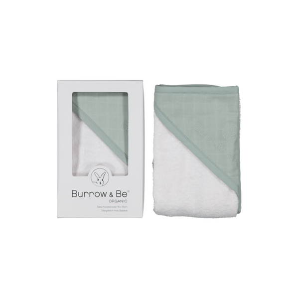 Burrow and Be Baby Hooded Towel - Sage - Dapper Mr bear - www.dappermrbear.com - NZ