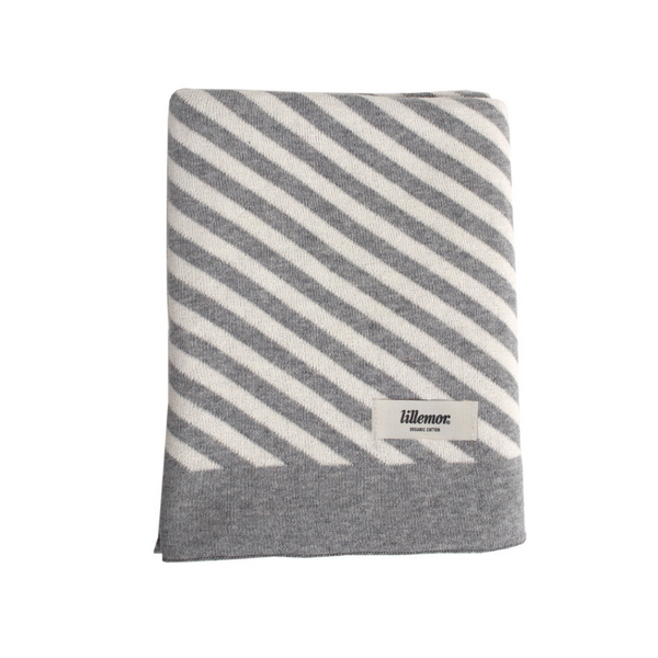 Eef Lillemor Stripe Knit Blanket - Grey - Dapper Mr Bear - www.dappermrbear.com - NZ