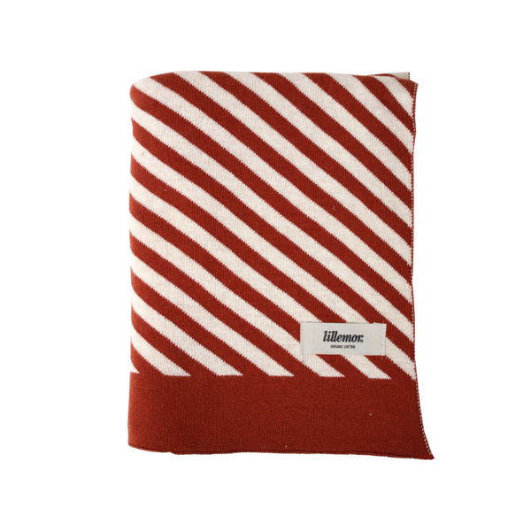 Eef Lillemor Stripe Knit Blanket - Rust - Dapper Mr Bear - www.dappermrbear.com - NZ