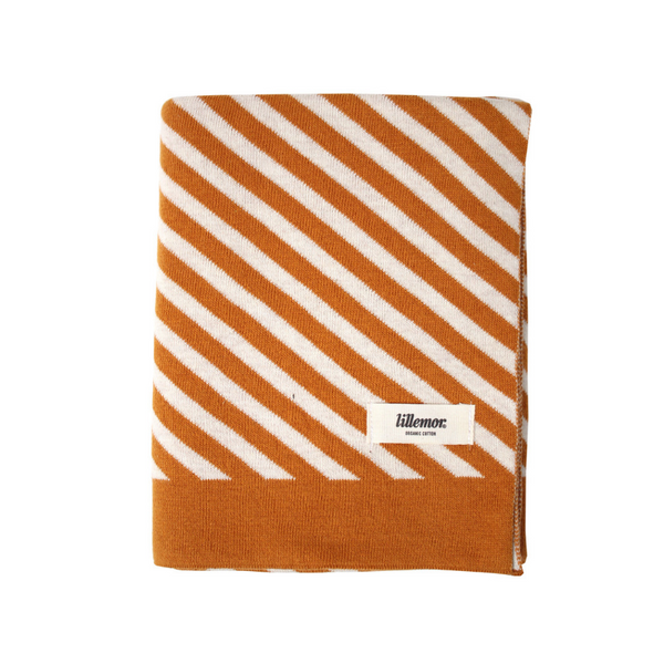 Eef Lillemor Stripe Knit Blanket - Spice/Brown - Dapper Mr Bear - www.dappermrbear.com - NZ