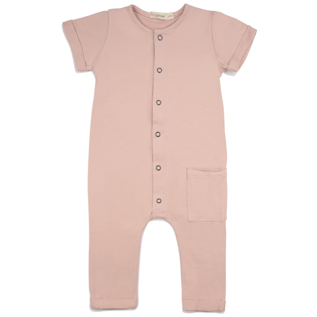 Phil and Phae Pocket Jumpsuit - Blush Pink (6-12M, 12-18M, 2Y last ones!)