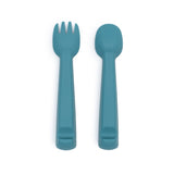 We Might Be Tiny Bear Feedie Fork and Spoon Set - Blue Dusk - Dapper Mr Bear - www.dappermrbear.com. NZ