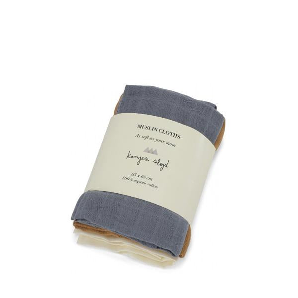 Konges Sløjd 3 Pack Muslin Cloths - French Blue Mix - Dapper Mr Bear - www.dappermrbear.com - NZ