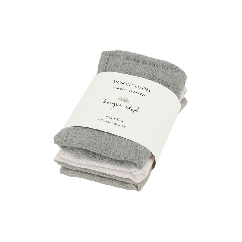 Konges Sløjd 3 Pack Muslin Cloths - Lime Stone Mix - Dapper Mr Bear - www.dappermrbear.com _ NZ