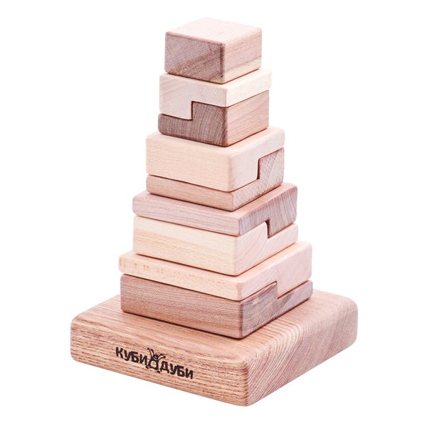 Kubi Dubi Wooden Stacking Puzzle - Techno - Dapper Mr Bear - www.dappermrbear.com - NZ