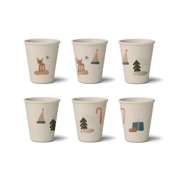 Liewood Gertrud Bamboo Cup - 6 Pack - Holiday Mix - Dapper Mr Bear - www.dappermrbear.com - NZ
